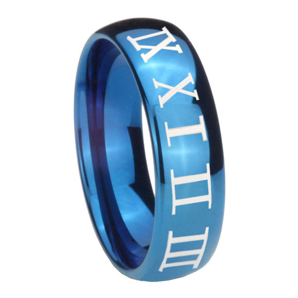 8mm Roman Numeral Dome Blue Tungsten Carbide Wedding Bands Ring