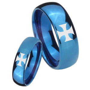 Bride and Groom Maltese Cross Dome Blue Tungsten Carbide Men's Wedding Band Set