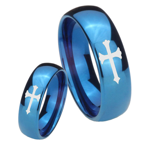 Bride and Groom Christian Cross Dome Blue Tungsten Carbide Men's Bands Ring Set