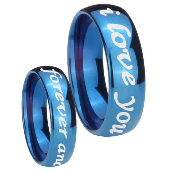 8mm I Love You Forever and ever Dome Blue Tungsten Carbide Promise Ring