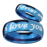 His Hers I Love You Forever and ever Dome Blue Tungsten Wedding Band Ring Set