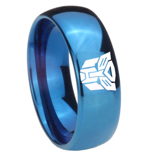 8mm Transformers Autobot Dome Blue Tungsten Carbide Rings for Men