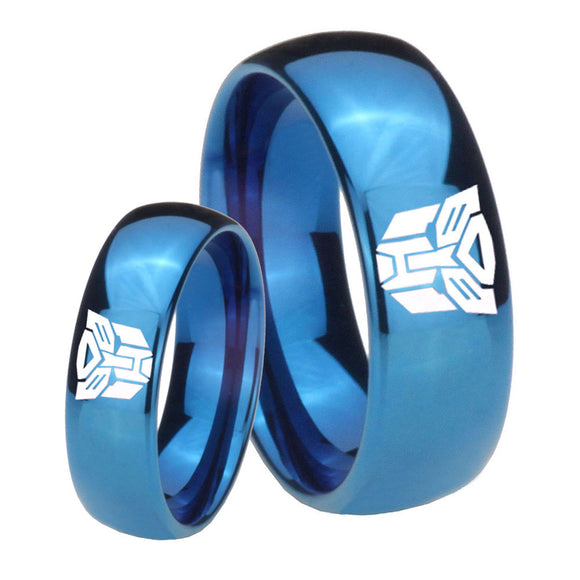 Bride and Groom Transformers Autobot Dome Blue Tungsten Wedding Band Mens Set