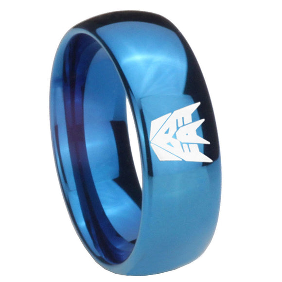 8mm Decepticon Transformers Dome Blue Tungsten Carbide Personalized Ring