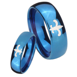 Bride and Groom Fleur De Lis Dome Blue Tungsten Carbide Engraved Ring Set