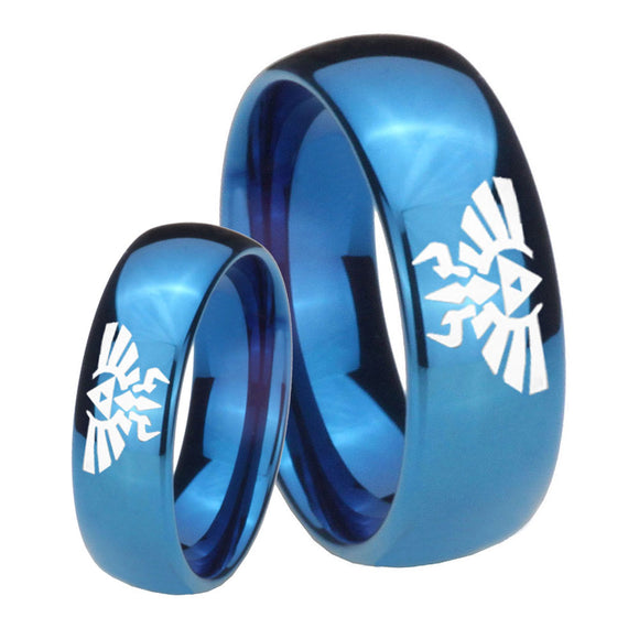 Bride and Groom Zelda Skyward Sword Dome Blue Tungsten Anniversary Ring Set
