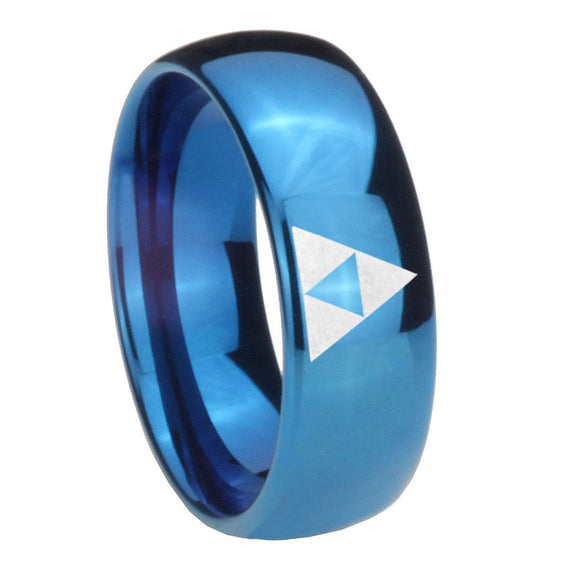 8mm Zelda Triforce Dome Blue Tungsten Carbide Custom Mens Ring