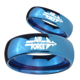 His Hers Mirror Blue Dome Air Force Tungsten Carbide Wedding Rings Set