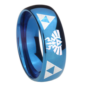 8mm Legend of Zelda Dome Blue Tungsten Carbide Mens Bands Ring