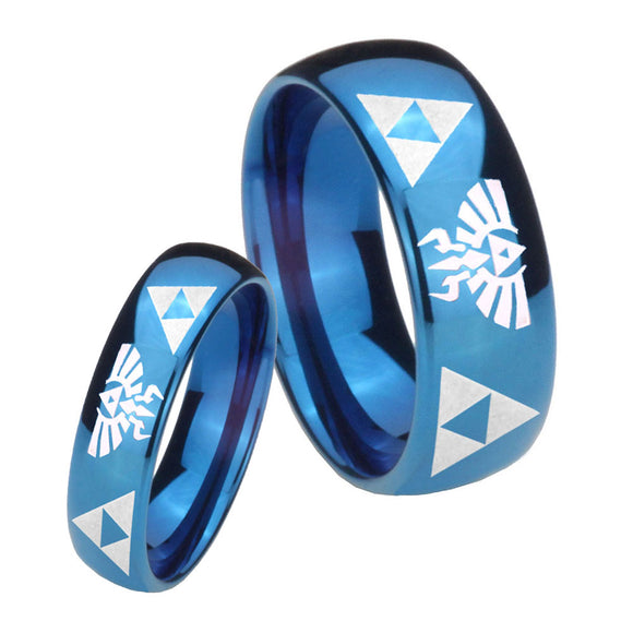 Bride and Groom Legend of Zelda Dome Blue Tungsten Men's Engagement Band Set