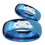 Bride and Groom Flamed Cross Dome Blue Tungsten Carbide Mens Promise Ring Set