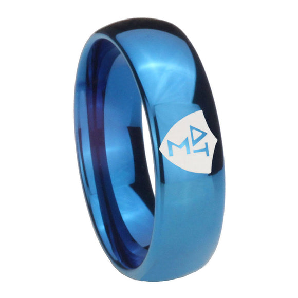 8mm Greek CTR Dome Blue Tungsten Carbide Men's Engagement Band
