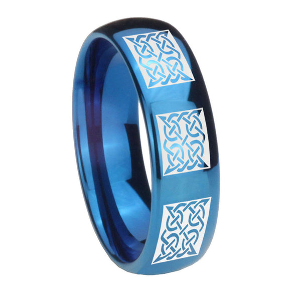8mm Multiple Celtic Dome Blue Tungsten Carbide Mens Anniversary Ring