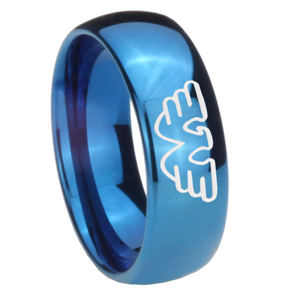 8mm Waylon Jennings Dome Blue Tungsten Carbide Mens Engagement Ring