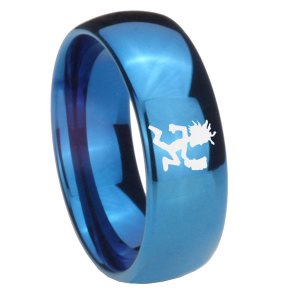 8mm Hatchet Man Dome Blue Tungsten Carbide Men's Wedding Ring