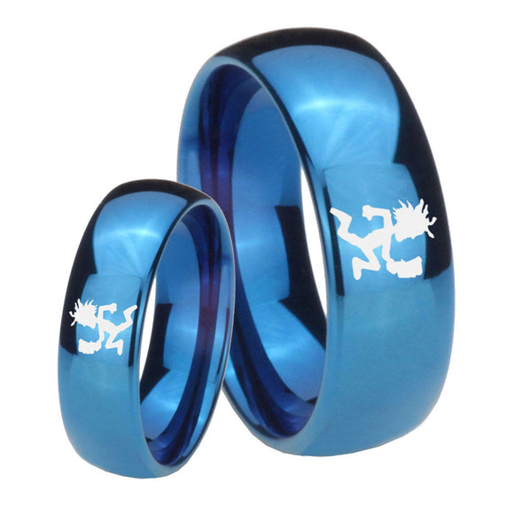 Bride and Groom Hatchet Man Dome Blue Tungsten Carbide Wedding Bands Ring Set