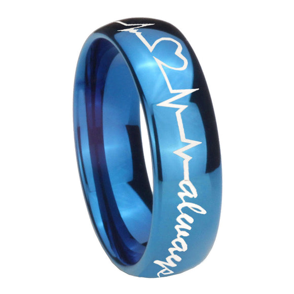 8mm Heart Beat forever Heart always Dome Blue Tungsten Mens Ring Personalized
