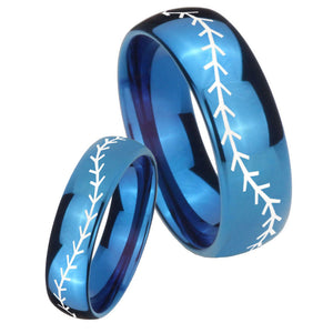 Bride and Groom Baseball Stitch Dome Blue Tungsten Carbide Personalized Ring Set