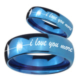 His Hers Sound Wave, I love you more Dome Blue Tungsten Mens Bands Ring Set