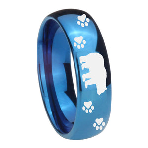8mm Bear and Paw Dome Blue Tungsten Carbide Personalized Ring