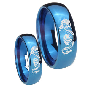 Bride and Groom Dragon Dome Blue Tungsten Carbide Mens Wedding Band Set