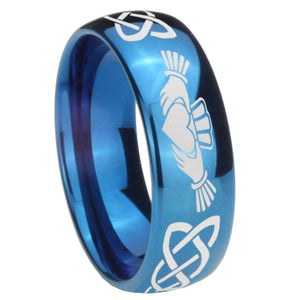 8mm Irish Claddagh Dome Blue Tungsten Carbide Custom Ring for Men