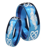 Bride and Groom Irish Claddagh Dome Blue Tungsten Carbide Rings for Men Set