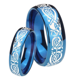 Bride and Groom Celtic Knot Dragon Dome Blue Tungsten Carbide Bands Ring Set
