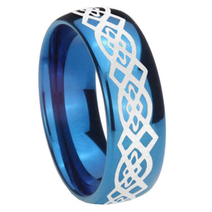 8mm Celtic Knot Dome Blue Tungsten Carbide Mens Anniversary Ring