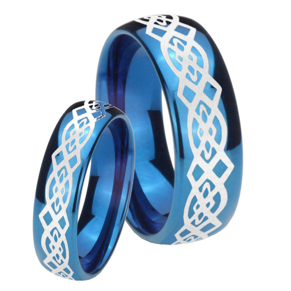 Bride and Groom Celtic Knot Dome Blue Tungsten Carbide Custom Ring for Men Set