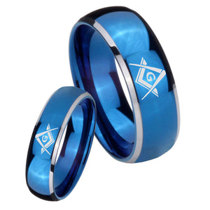 His Hers Freemason Masonic Dome Blue 2 Tone Tungsten Personalized Ring Set