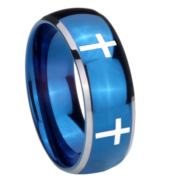 8mm Crosses Dome Blue 2 Tone Tungsten Carbide Men's Engagement Band