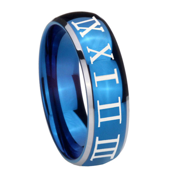 8mm Roman Numeral Dome Blue 2 Tone Tungsten Carbide Wedding Engraving Ring