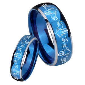 Bride and Groom Irish Claddagh Dome Blue 2 Tone Tungsten Men's Band Ring Set