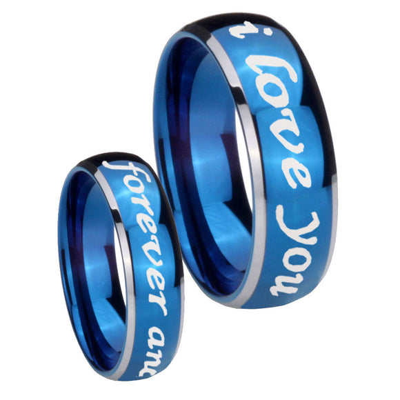 8mm I Love You Forever and ever Dome Blue 2 Tone Tungsten Carbide Rings for Men