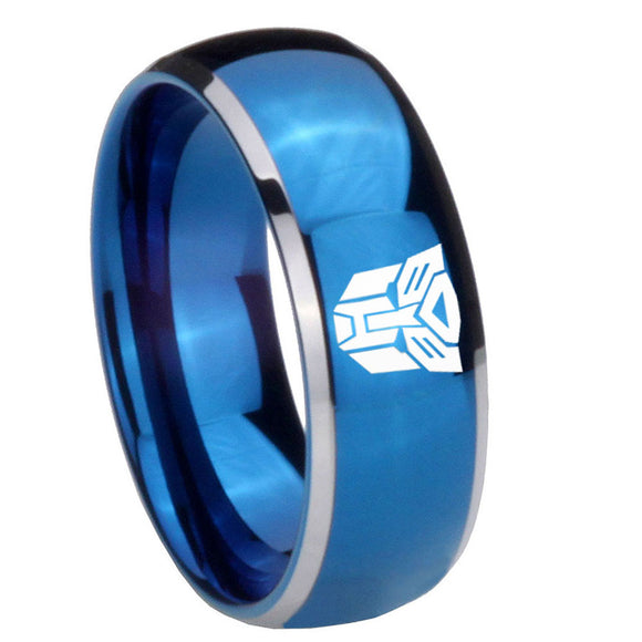 8mm Transformers Autobot Dome Blue 2 Tone Tungsten Carbide Mens Engagement Ring