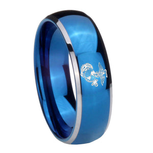8mm Marine Dome Blue 2 Tone Tungsten Carbide Mens Engagement Ring
