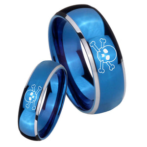 Bride and Groom Skull Dome Blue 2 Tone Tungsten Wedding Engraving Ring Set