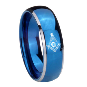 8mm Master Mason Masonic Dome Blue 2 Tone Tungsten Carbide Engagement Ring