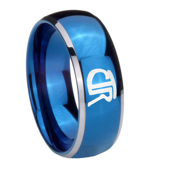 8mm CTR Dome Blue 2 Tone Tungsten Carbide Mens Anniversary Ring