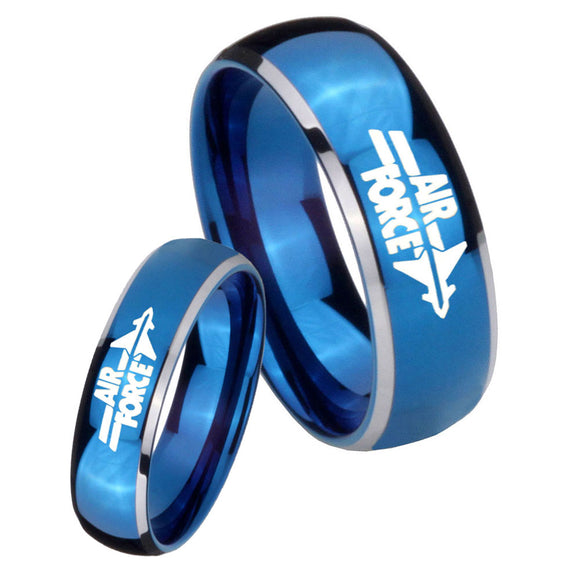 His Her Glossy Blue Dome Air Force Two Tone Tungsten Wedding Rings Set