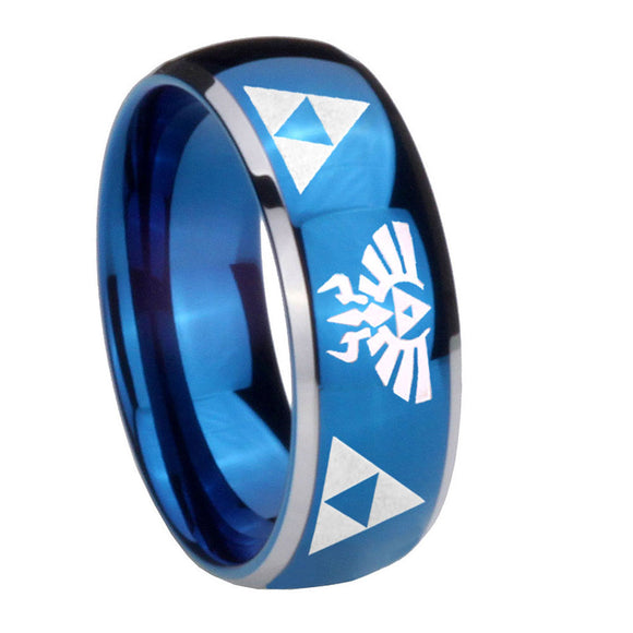 8mm Legend of Zelda Dome Blue 2 Tone Tungsten Carbide Custom Mens Ring