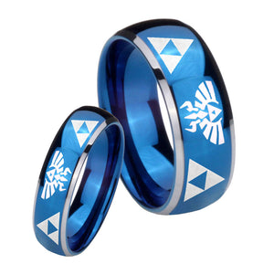 His Hers Legend of Zelda Dome Blue 2 Tone Tungsten Men's Wedding Ring Set