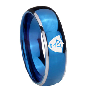 8mm Greek CTR Dome Blue 2 Tone Tungsten Carbide Engagement Ring