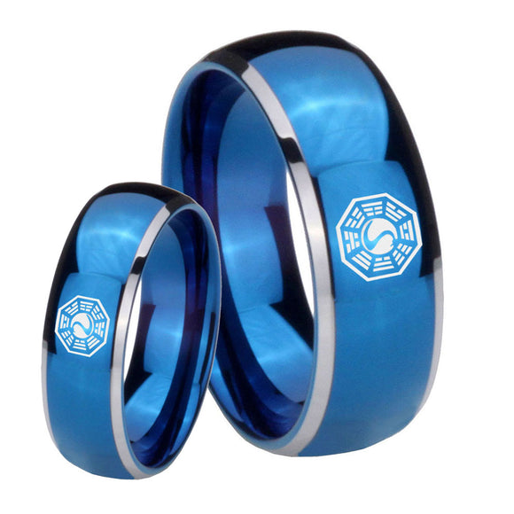 Bride and Groom Lost Dharma Dome Blue 2 Tone Tungsten Wedding Band Mens Set
