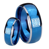 His and Hers Celtic Design Dome Blue 2 Tone Tungsten Men's Wedding Band Set