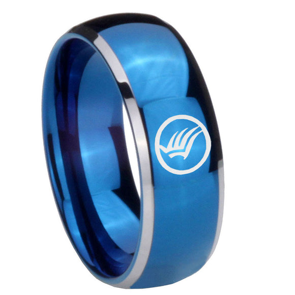 8MM Glossy Blue Dome Mass Effect Tungsten Carbide 2 Tone Laser Engraved Ring