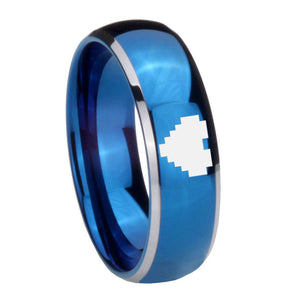 8MM Glossy Blue Dome Zelda Heart Tungsten Carbide 2 Tone Laser Engraved Ring