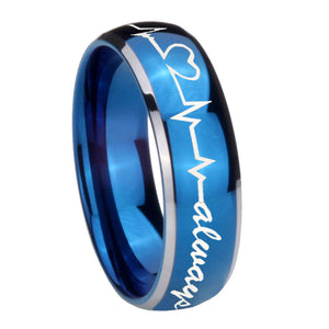8mm Heart Beat forever Heart always Dome Blue 2 Tone Tungsten Engraved Ring
