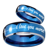 His Hers Sound Wave, I love you more Dome Blue 2 Tone Tungsten Rings for Men Set